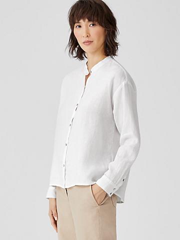 Organic Handkerchief Linen Mandarin Collar Shirt