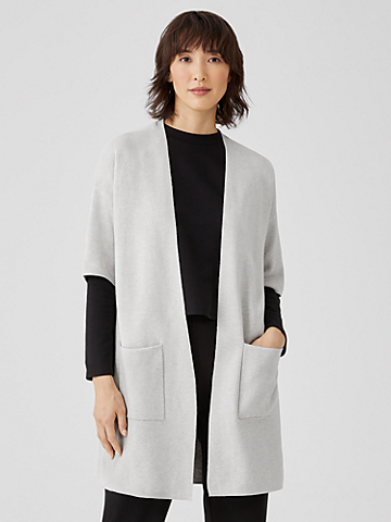Organic Cotton Silk Elbow-Sleeve Cardigan
