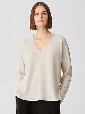 Organic Linen Cotton Twist V-Neck Top