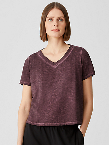 Pigment-Dyed Organic Cotton V-Neck Tee