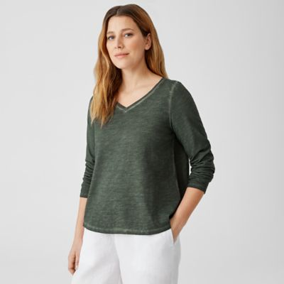 Pigment-Dyed Organic Cotton V-Neck Top