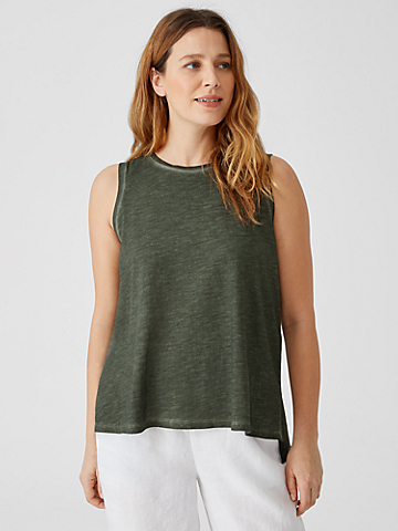 Pigment-Dyed Organic Cotton Crew Neck Tank