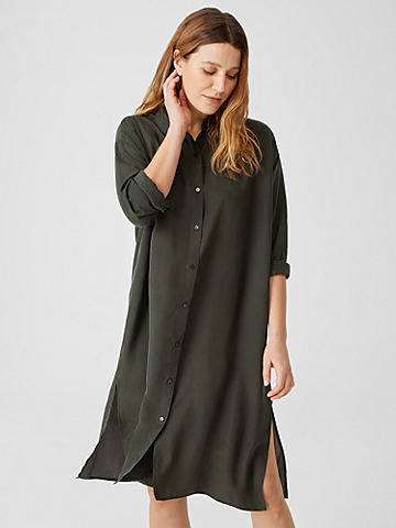 Washed Silk Habutai Shirtdress