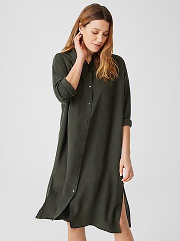 Washed Silk Habutai Shirtdress