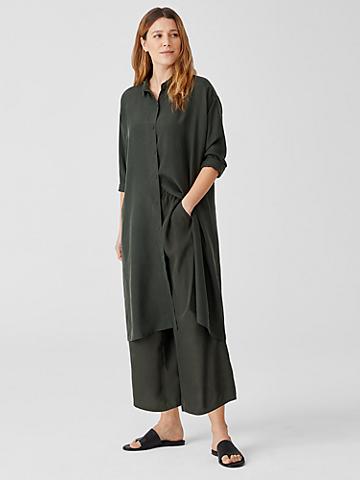 Washed Silk Habutai Wide-Leg Pant