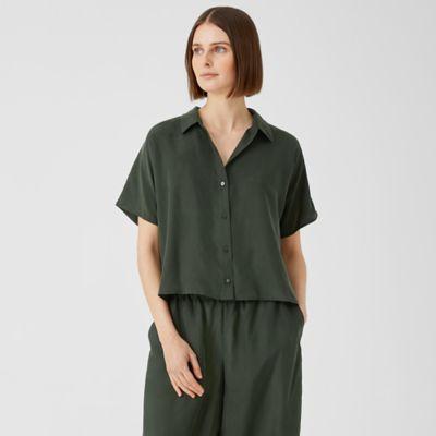 Washed Silk Habutai Short-Sleeve Shirt