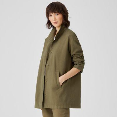 Organic Cotton Hemp Stand Collar Long Jacket