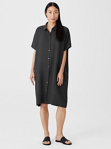 Puckered Organic Linen Shirtdress