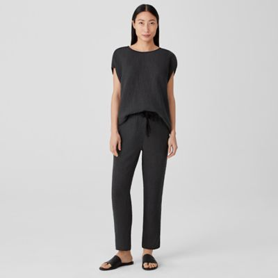 Puckered Organic Linen Tapered Pant
