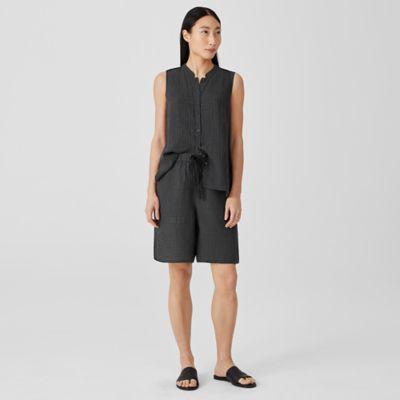 Puckered Organic Linen Shorts