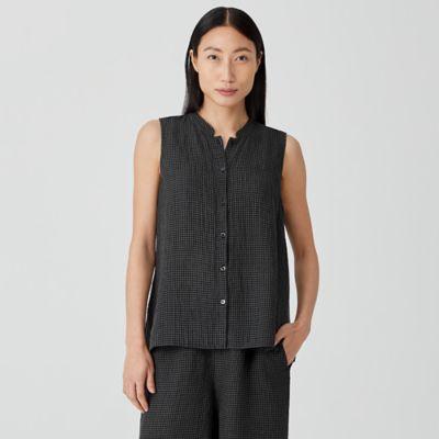 Puckered Organic Linen Mandarin Collar Shirt