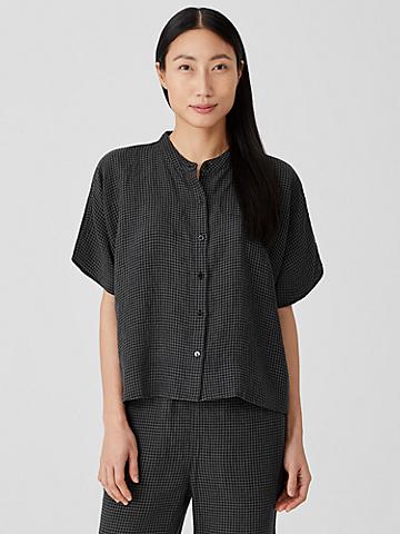 Puckered Organic Linen Short-Sleeve Shirt