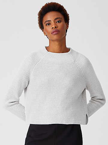 Organic Cotton Silk Funnel Neck Top