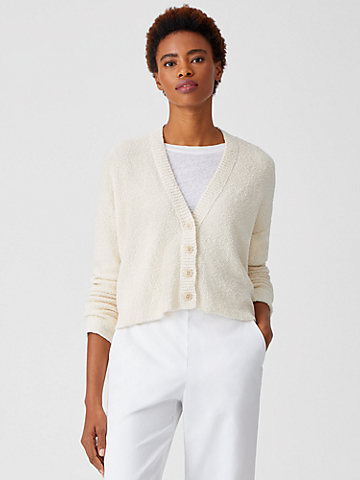 Peruvian Organic Cotton Boucle Cardigan