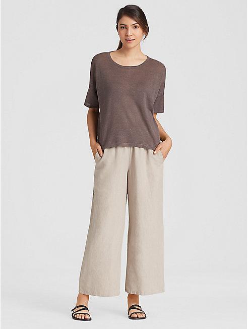 Organic Linen Tencel Cropped Wide-Leg Pant