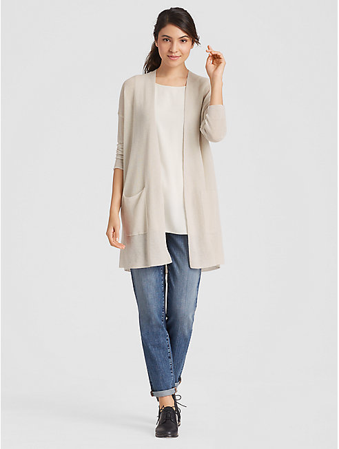 Organic Linen Crepe Knit Long Cardigan