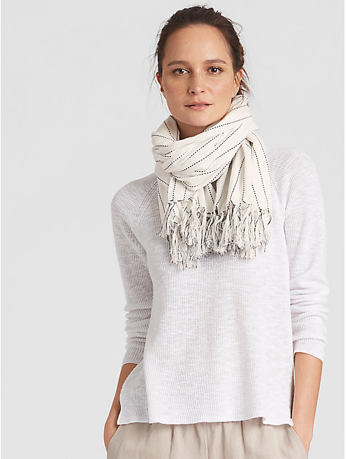 Organic Cotton Stitch Stripe Scarf