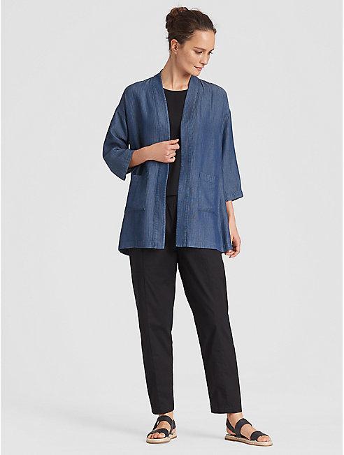 Tencel Grid Kimono Jacket