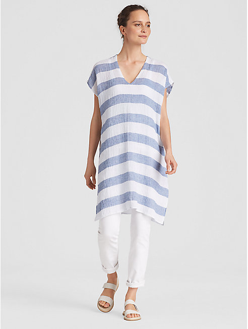Organic Linen Gauze Striped Caftan