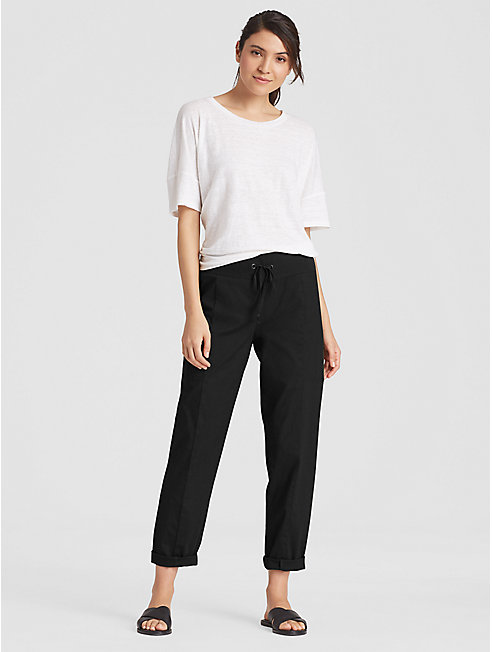 Organic Cotton Poplin Drawstring Ankle Pant