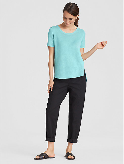 Organic Linen Knit Shirttail Top