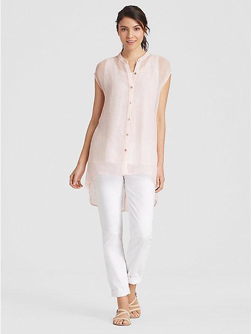 Petite Organic Linen Mesh High-Low Shirt