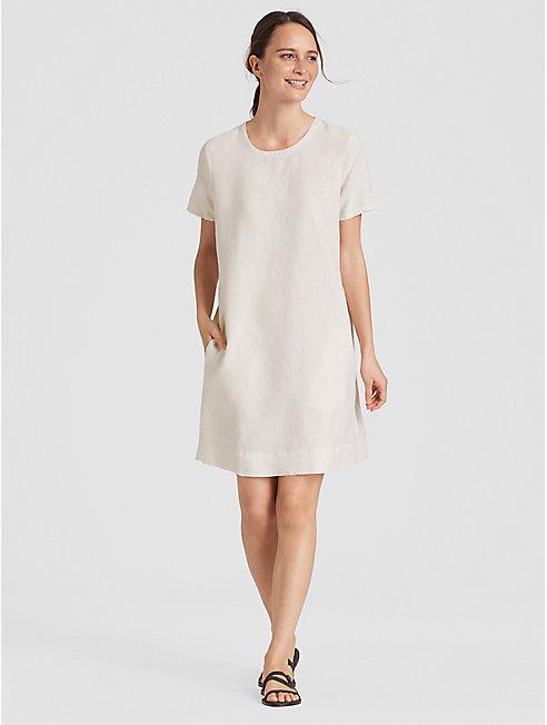 Organic Linen Pinstripe A-Line Dress