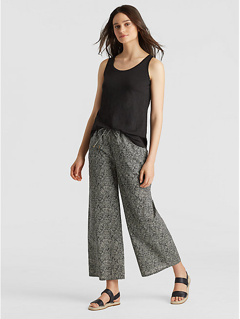 Printed Organic Cotton Cropped Wide-Leg Pant