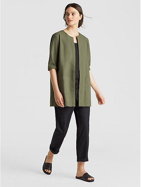 Cross-Dyed Organic Cotton A-Line Jacket