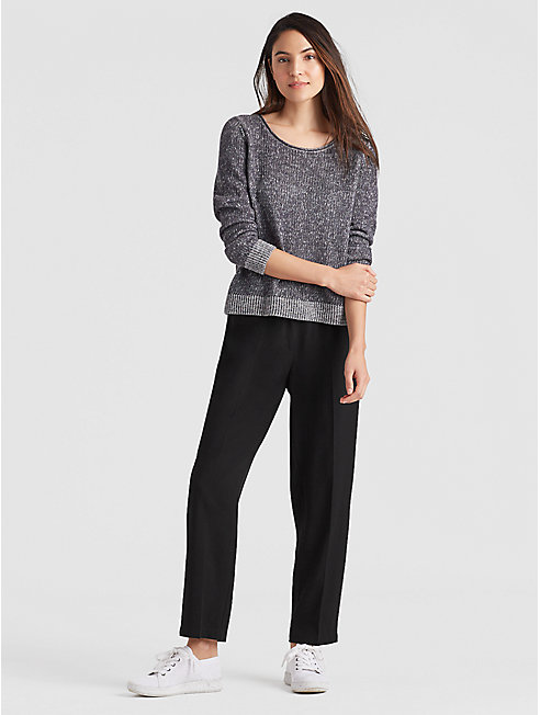 Woven Tencel Straight Ankle Trouser