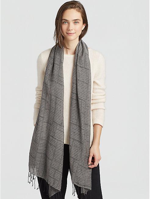 Organic Linen Cashmere Stripe Scarf