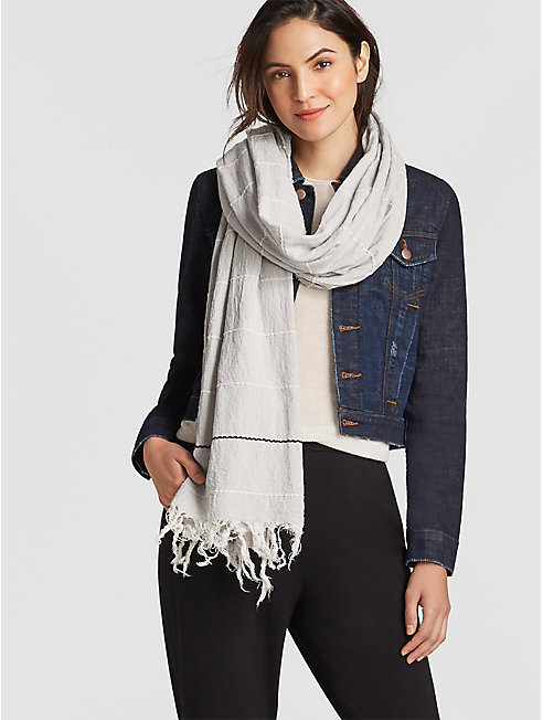 Recycled Cotton Blend Stripe Scarf