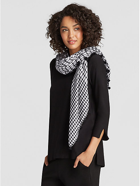 Organic Cotton Silk Gingham Square Scarf