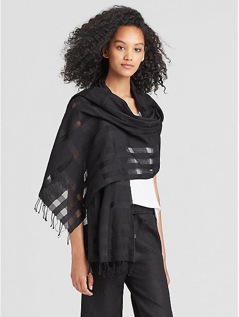 Handwoven Organic Cotton Silk Check Scarf