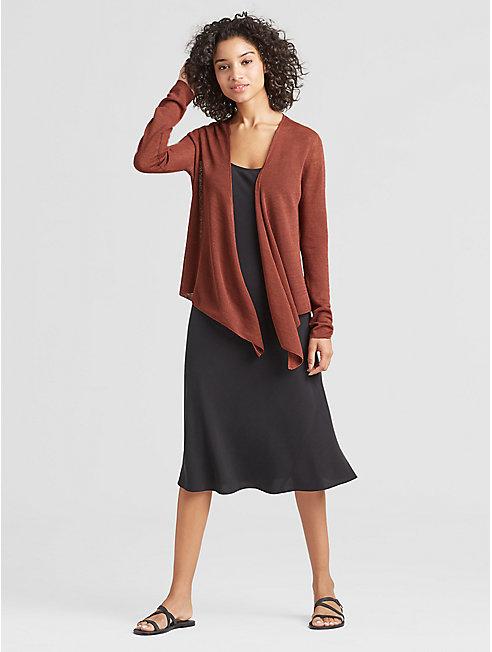Exclusive Organic Linen Crepe Tie-Front Cardigan