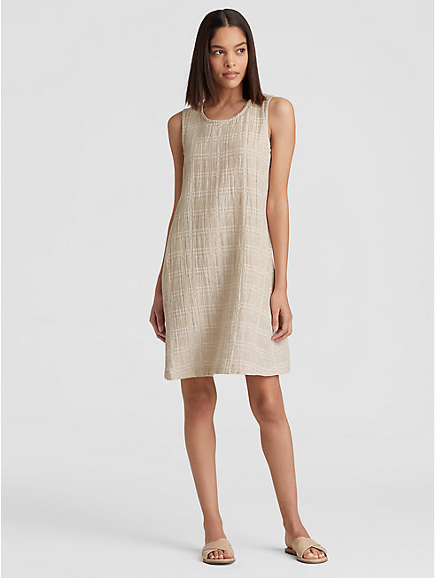 Organic Cotton Linen Jacquard Shift Dress