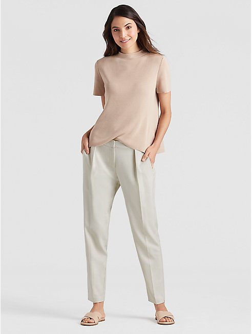 Drapey Tencel Stretch Slouchy Ankle Pant