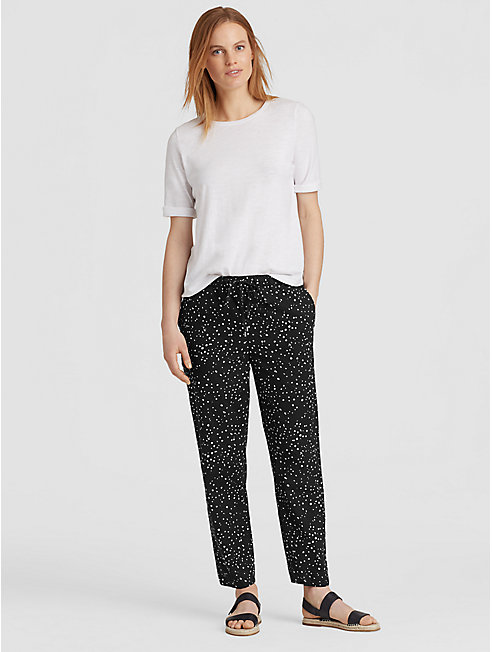 Dot-Printed Organic Cotton Slouchy Ankle Pant