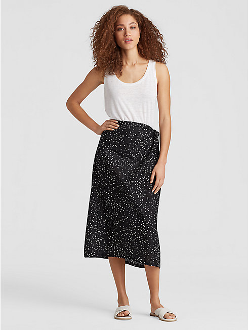 Dot-Printed Organic Cotton Sarong Skirt