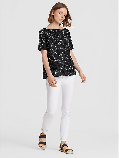 Dot-Printed Organic Cotton A-Line Top