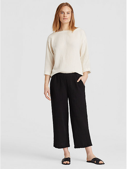 Organic Cotton Gauze Straight Cropped Pant