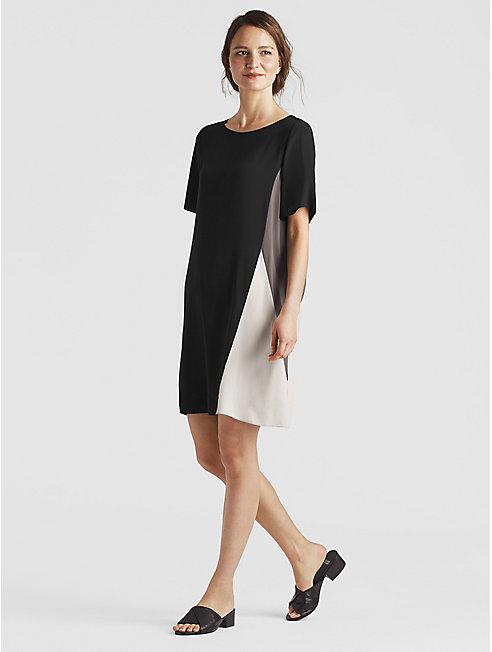 Silk Georgette Crepe Color-Block Dress