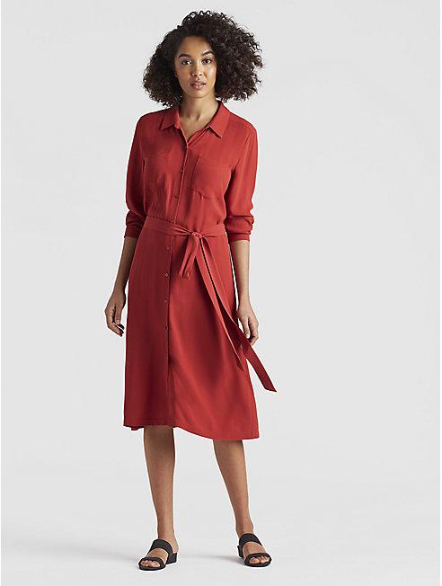 Silk Georgette Crepe Shirt Dress