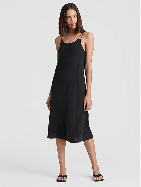 Silk Georgette Crepe Bias-Cut Cami Dress