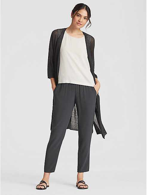 Silk Georgette Crepe Slouchy Ankle Pant