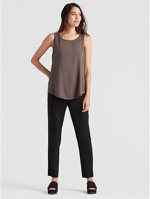 Silk Georgette Crepe Slim Ankle Pant