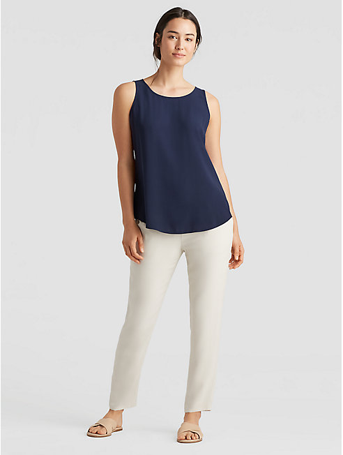 Silk Georgette Crepe Shirttail Tank