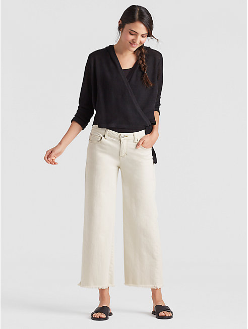 Undyed Organic Cotton Stretch Cropped Wide-Leg Jean