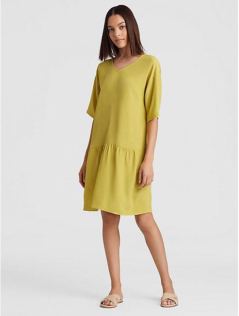 Tencel Viscose Crepe Drop-Waist Dress