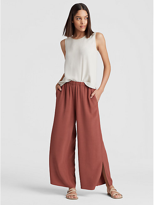 Tencel Viscose Crepe Wide-Leg Slit Pant